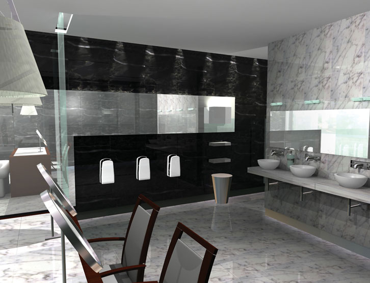 Stylish-bussinesslike-bathroom-design-in-gray-and-black-with-niched-mirror